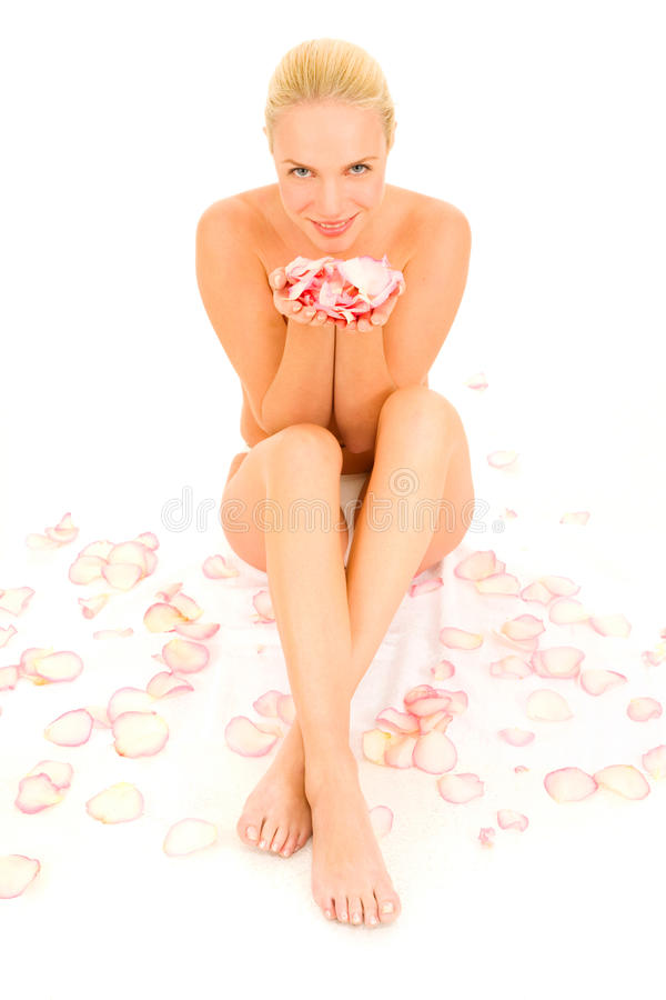Free Nude Woman Sitting Between Rose Stock Photography - 18254982