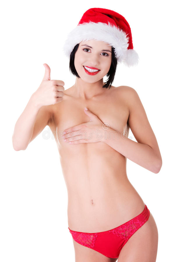 Nude Woman Wearing Santa Hat Showing Thumbs Up Stock Photo -4243