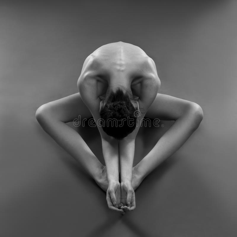 Download Nude Yoga. Beautiful Body Of Young Woman On Black Background Stock Photo - Image of model, element: 61362922