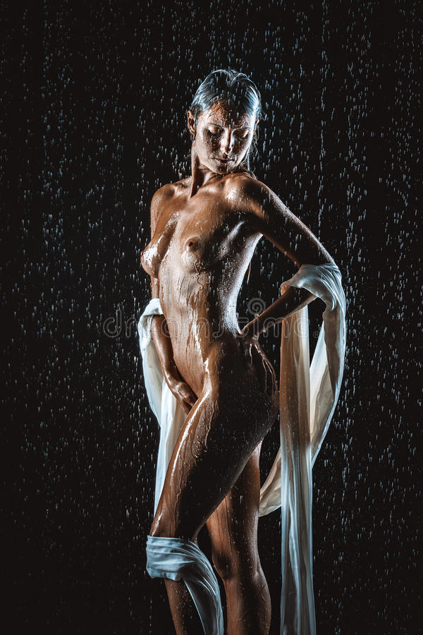nude woman in rain
