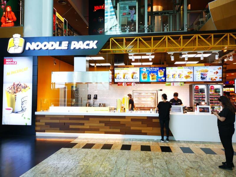 Nudel-Satzschnellrestaurant an der Mall Baneasa-Einkaufsstadt, Rumänien lizenzfreies stockfoto