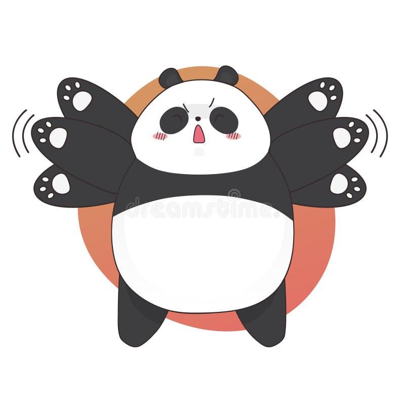 Nudny śliczny gniewny pandy kreskówki styl Wektorowa ręka rysująca ilustracja royalty ilustracja
