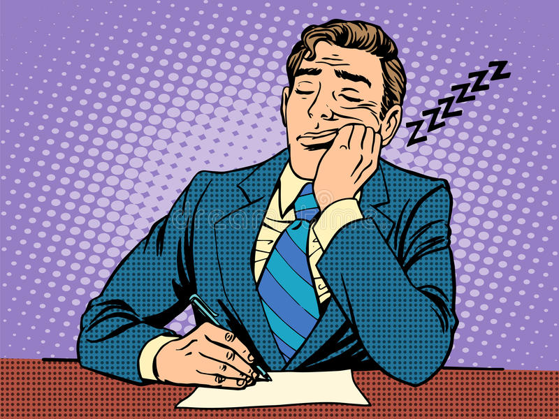 Nudny raport Mężczyzna spadał uśpiony na wykładach royalty ilustracja