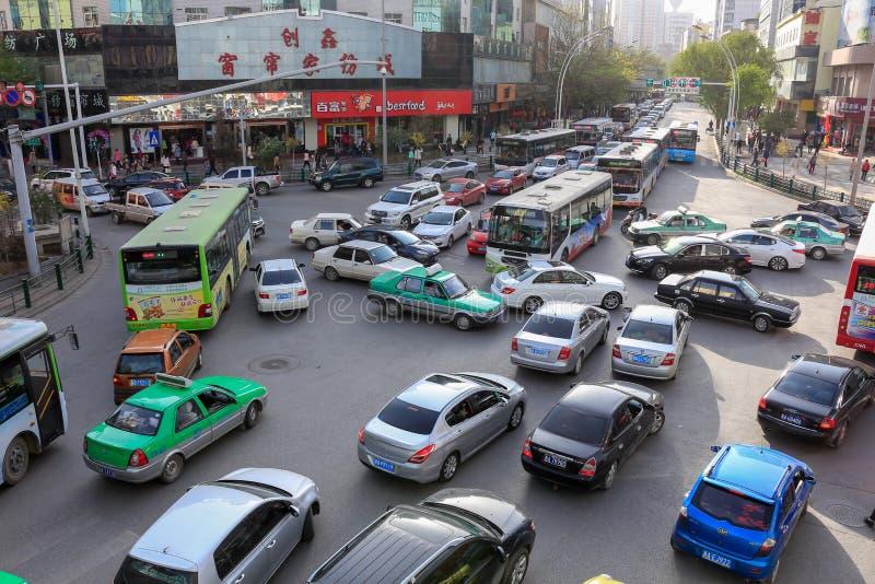Nudo chino del tráfico fotografía de archivo libre de regalías