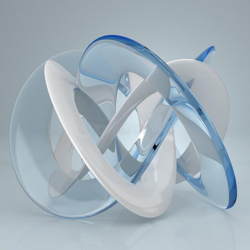 Nudo de cristal azul blanco del toro stock de ilustración