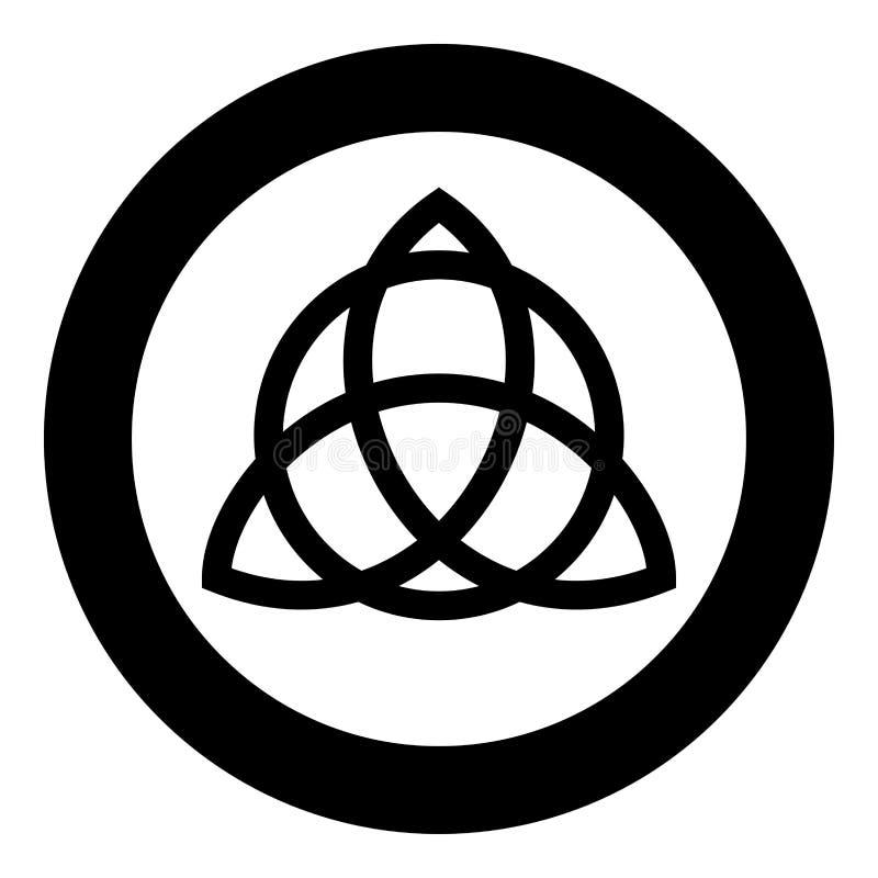 Nudo de Trikvetr con el poder del círculo del símbolo de tres vikingo tribal para el icono del nudo de la trinidad del tatuaje  ilustración del vector