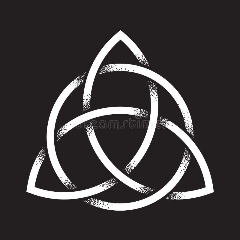 Nudo de Triquetra o de la trinidad El símbolo pagano antiguo dibujado mano del trabajo del punto de la eternidad y de la trinidad stock de ilustración