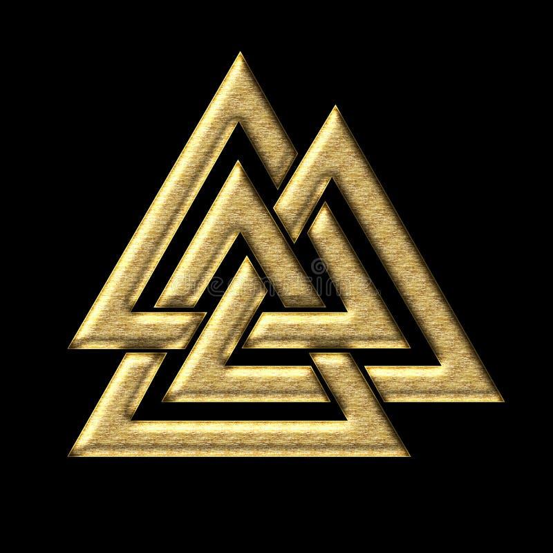 Nudo de Wotans - Valknut - Odin - triángulo ilustración del vector