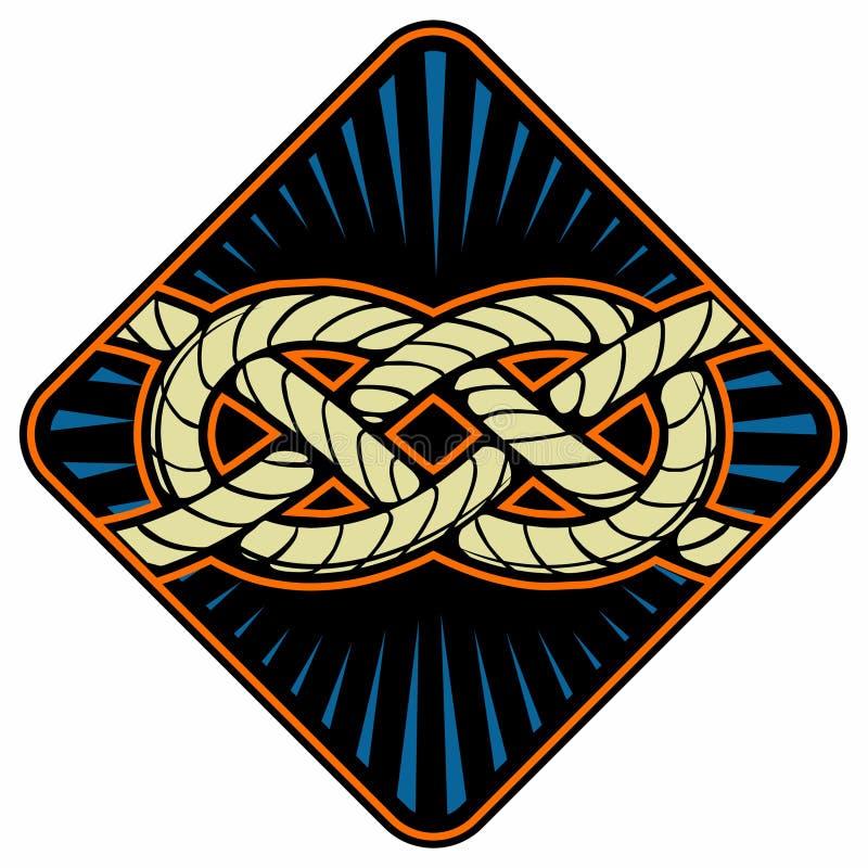 Nudo del marinero Muestra náutica de la cuerda País del movimiento del color de los busines del Internet del Web del recorrido de stock de ilustración