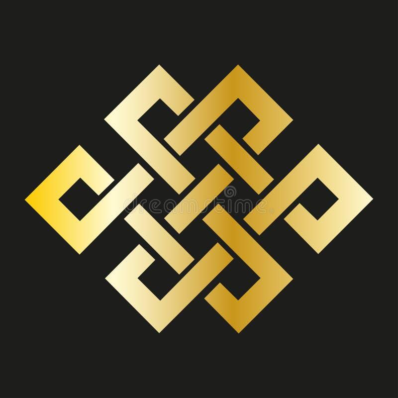 Nudo sin fin del icono en oro Símbolo budista (JPG +EPS) ilustración del vector