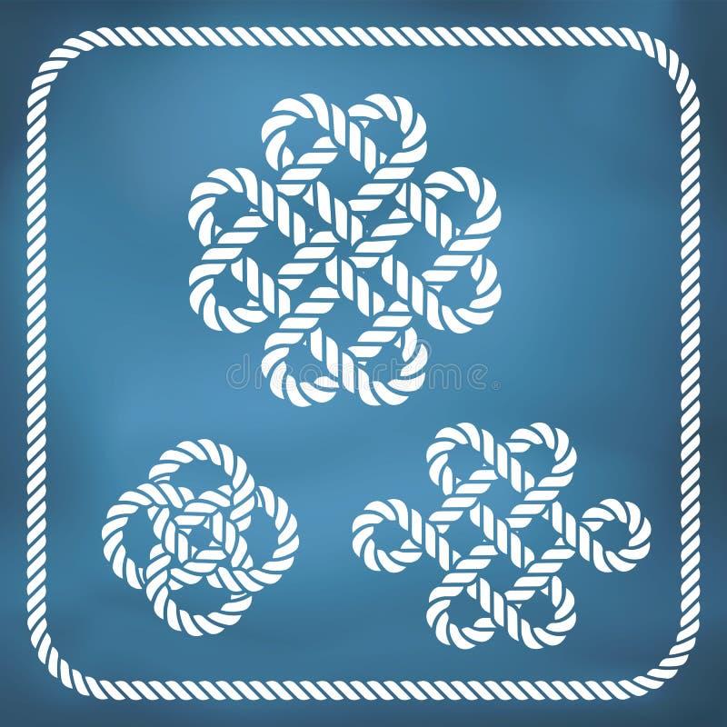 Nudos decorativos de la cuerda stock de ilustración