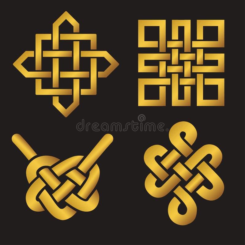 Nudos sin fin propicios fijados Símbolo budista (JPG +EPS) oro ilustración del vector