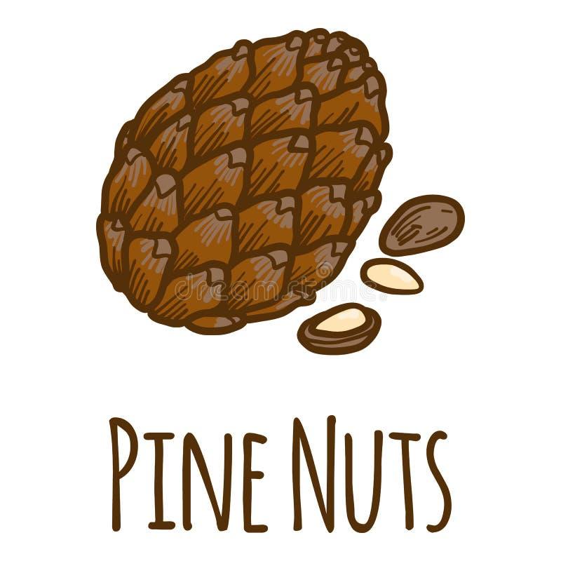 Nueces de pino icono, estilo exhausto de la mano libre illustration