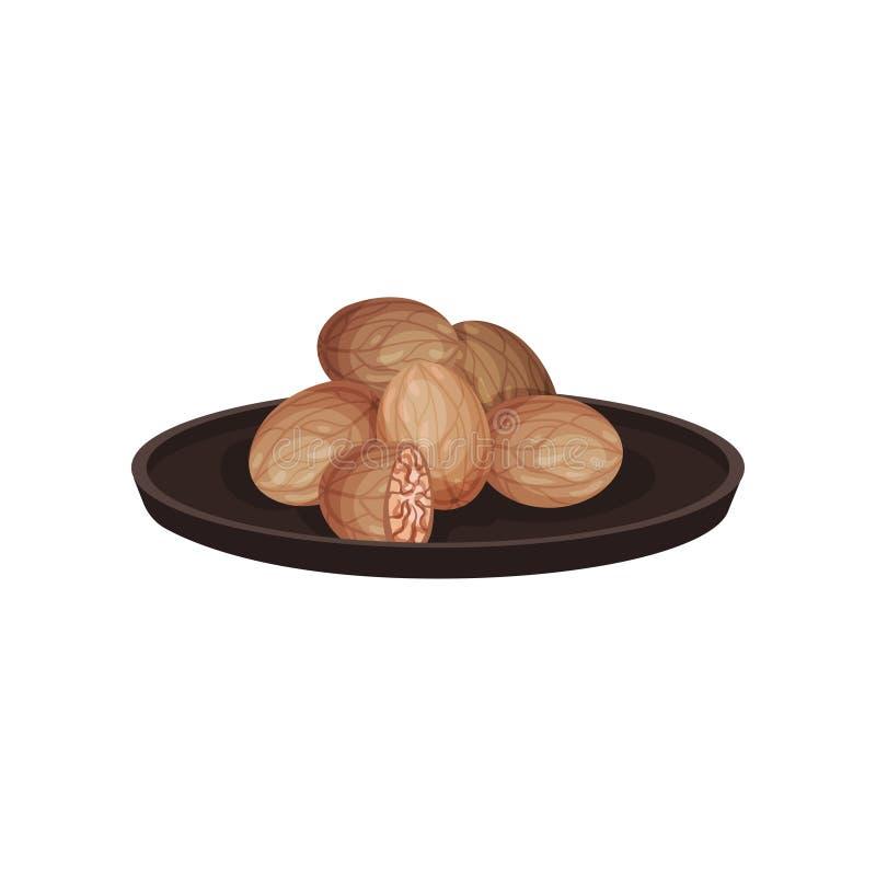 Nueces moscada moscadas en placa de cerámica Producto natural Ingrediente de cocinar aromático Tema culinario Diseño plano del ve stock de ilustración