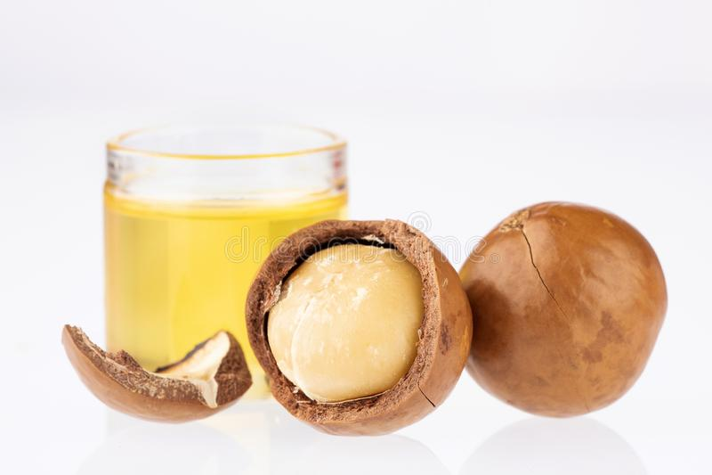Nueces y aceite de la macadamia - integrifolia de macadamia Fondo blanco fotos de archivo