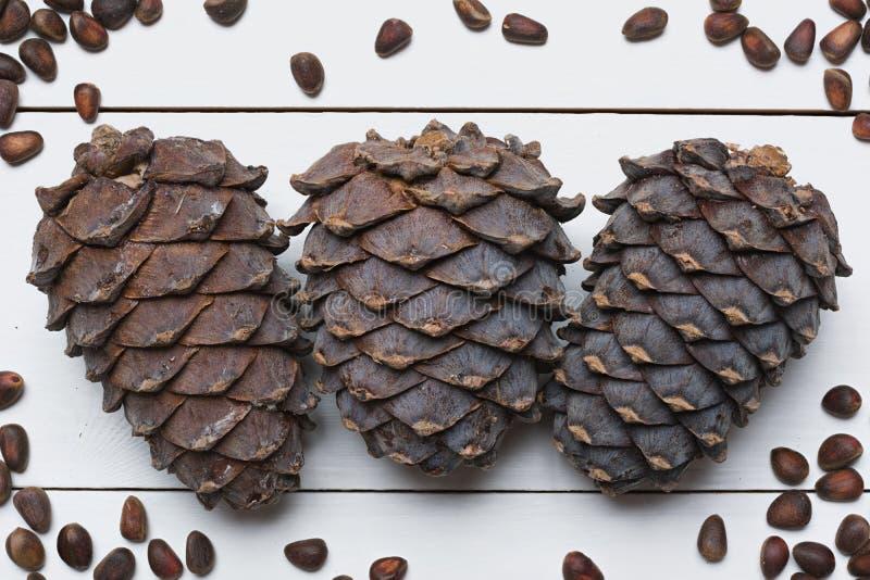 Nueces y cono siberianos de pino en la tabla de madera blanca imágenes de archivo libres de regalías