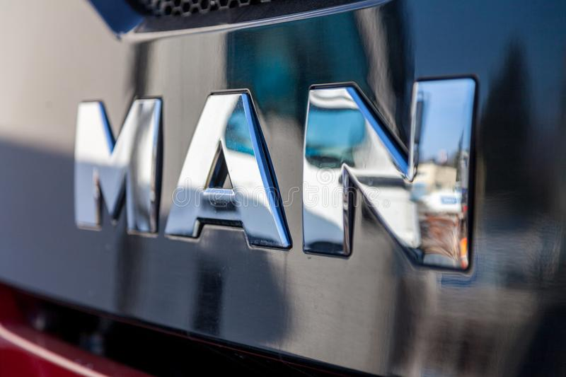 MAN logo on MAN TGS 35.460 8X8 dumper truck stock images