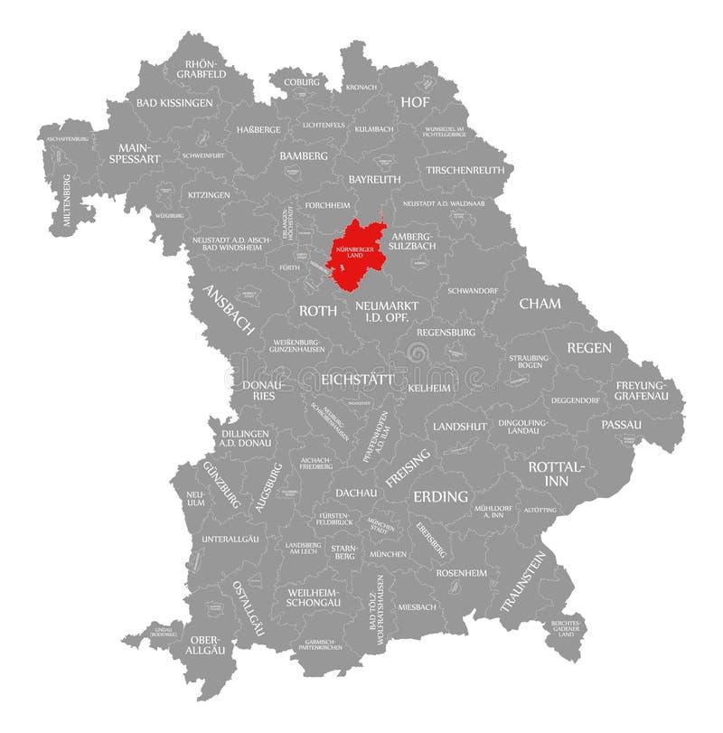 Nuernberger Ląduje okręg administracyjny czerwień podkreślającą w mapie Bavaria Niemcy ilustracji
