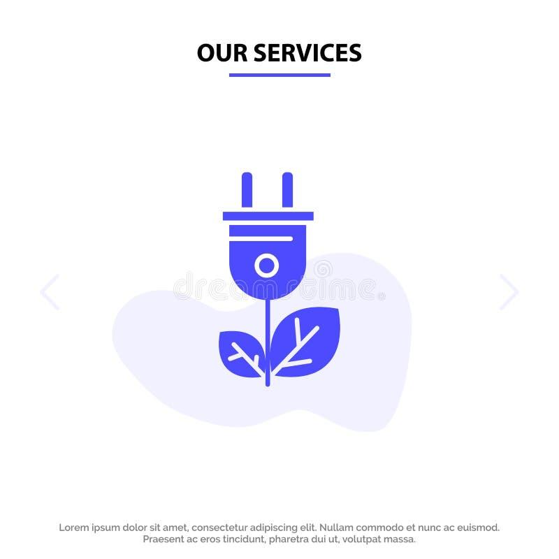 Nuestra biomasa de los servicios, energía, enchufe, plantilla sólida de la tarjeta de la web del icono del Glyph del poder stock de ilustración