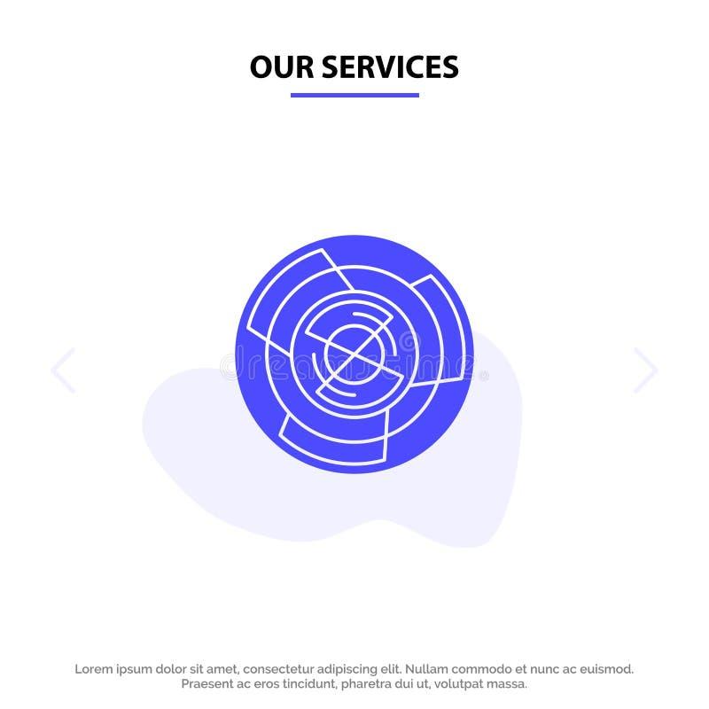 Nuestra complejidad de los servicios, negocio, desafío, concepto, laberinto, lógica, plantilla de la tarjeta de Maze Solid Glyph  stock de ilustración