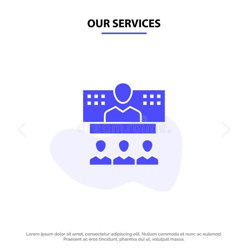 Nuestra conferencia de los servicios, negocio, llamada, conexión, Internet, plantilla sólida en línea de la tarjeta de la web del stock de ilustración