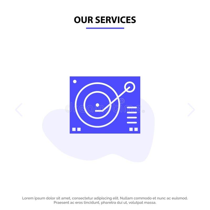 Nuestra cubierta de los servicios, dispositivo, fonógrafo, jugador, plantilla sólida de registro de la tarjeta de la web del icon libre illustration
