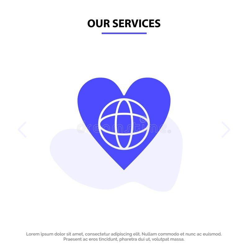 Nuestra ecología de los servicios, ambiente, mundo, corazón, como plantilla sólida de la tarjeta de la web del icono del Glyph stock de ilustración