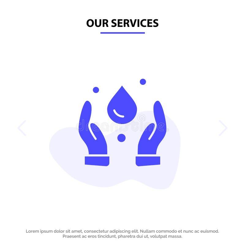 Nuestra ecología de los servicios, ambiente, plantilla sólida de la tarjeta de la web del icono del Glyph de la naturaleza libre illustration