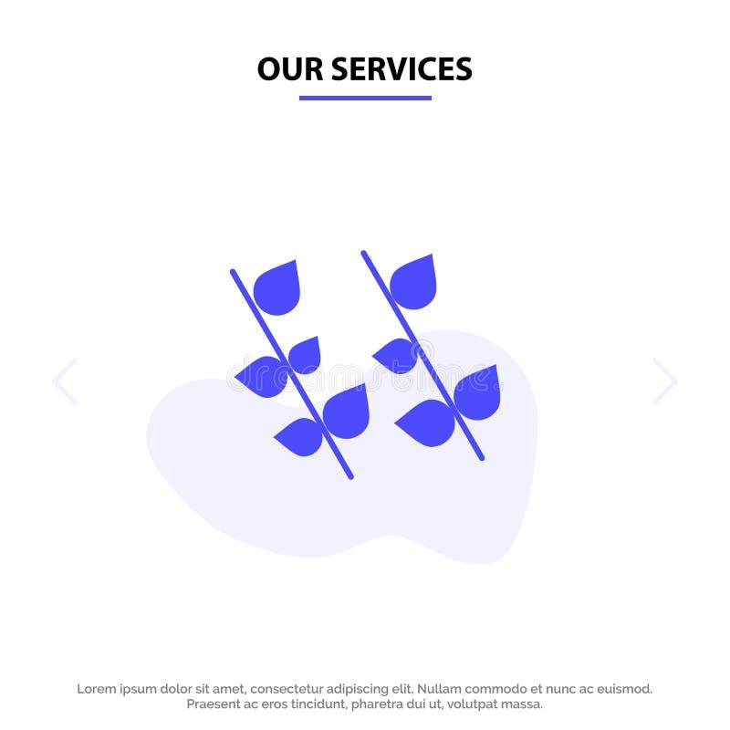 Nuestra ecología de los servicios, hoja, naturaleza, plantilla sólida de la tarjeta de la web del icono del Glyph de la primavera libre illustration