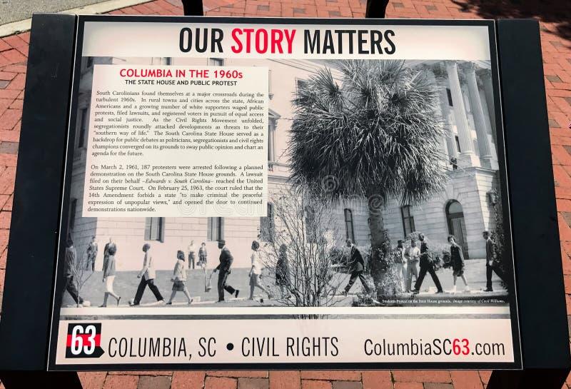 Nuestra historia importa, Columbia en el ` 1960 s imagenes de archivo