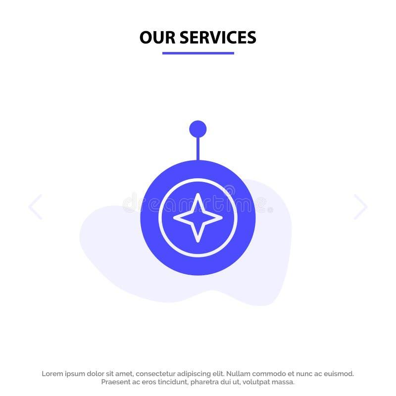 Nuestra insignia de los servicios, estrella, medalla, escudo, plantilla sólida de la tarjeta de la web del icono del Glyph del ho stock de ilustración