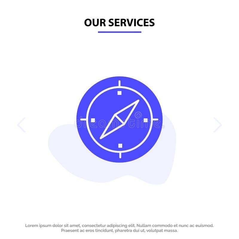 Nuestra navegación de los servicios, dirección, compás, plantilla sólida de la tarjeta de la web del icono del Glyph de los Gps stock de ilustración