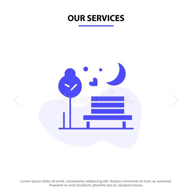 Nuestra noche de los servicios, luna, romántico, romántica, plantilla sólida de la tarjeta de la web del icono del Glyph del parq stock de ilustración