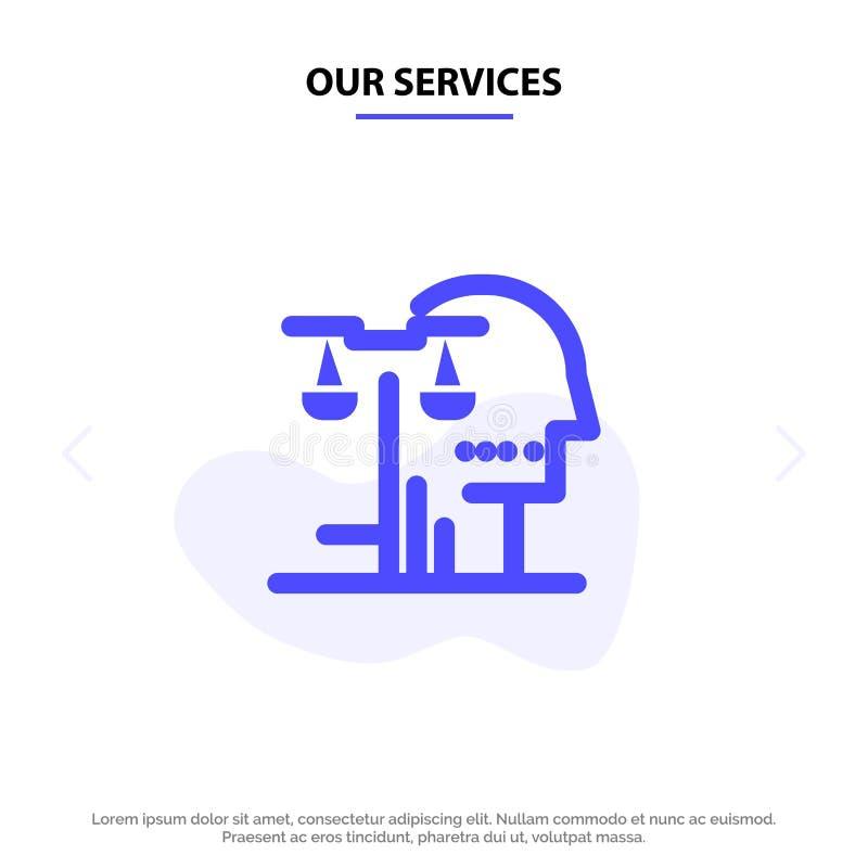 Nuestra opción de los servicios, corte, ser humano, juicio, plantilla sólida de la tarjeta de la web del icono del Glyph de la le libre illustration