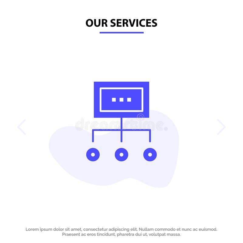 Nuestra red de servicios, negocio, carta, gráfico, gestión, organización, plan, plantilla sólida de la tarjeta de la web del icon libre illustration