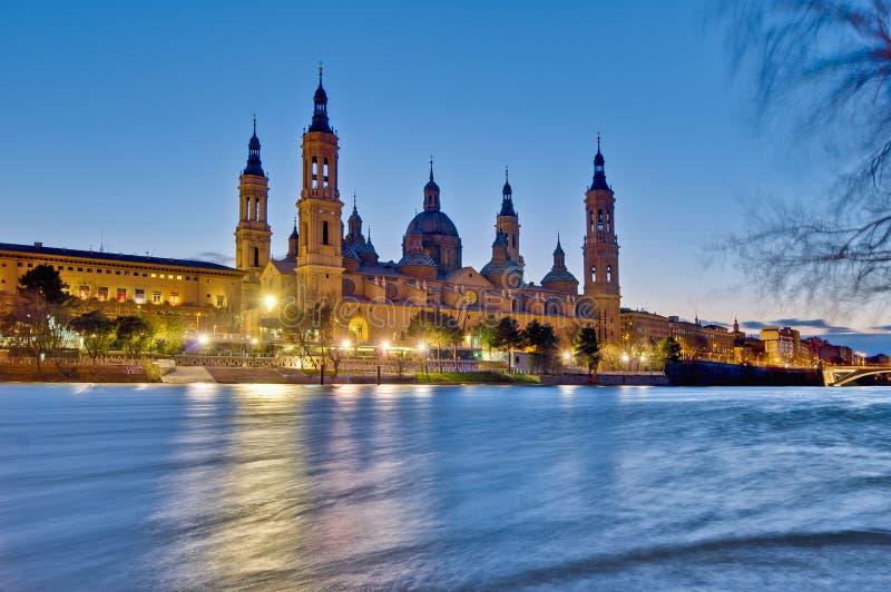 Nuestra señora de la basílica del pilar en Zaragoza, España foto de archivo libre de regalías