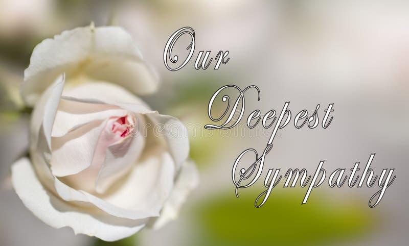 Nuestra tarjeta de condolencia más profunda - diseñada para alguien que está de luto la muerte de amada imagen de archivo