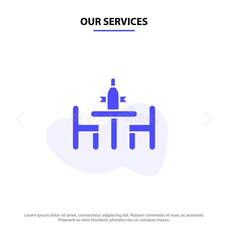 Nuestro acuerdo de servicios, conferencia, discusión, diplomacia, plantilla sólida de la tarjeta de la web del icono del Glyph de ilustración del vector