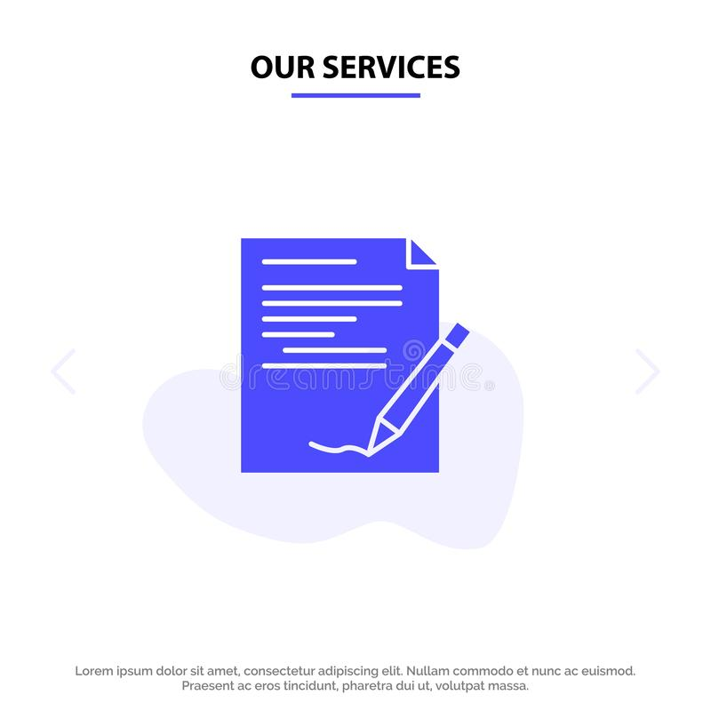 Nuestro acuerdo de servicios, papel, documento, nota, plantilla sólida de la tarjeta de la web del icono del Glyph del informe libre illustration