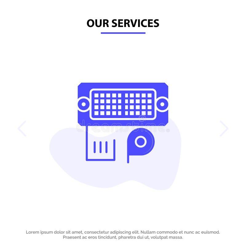 Nuestro adaptador de los servicios, conexión, datos, plantilla sólida entrada de la tarjeta de la web del icono del Glyph ilustración del vector