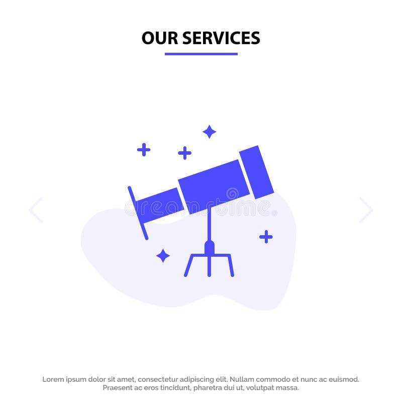 Nuestro astronauta de los servicios, espacio, plantilla sólida de la tarjeta de la web del icono del Glyph del telescopio stock de ilustración