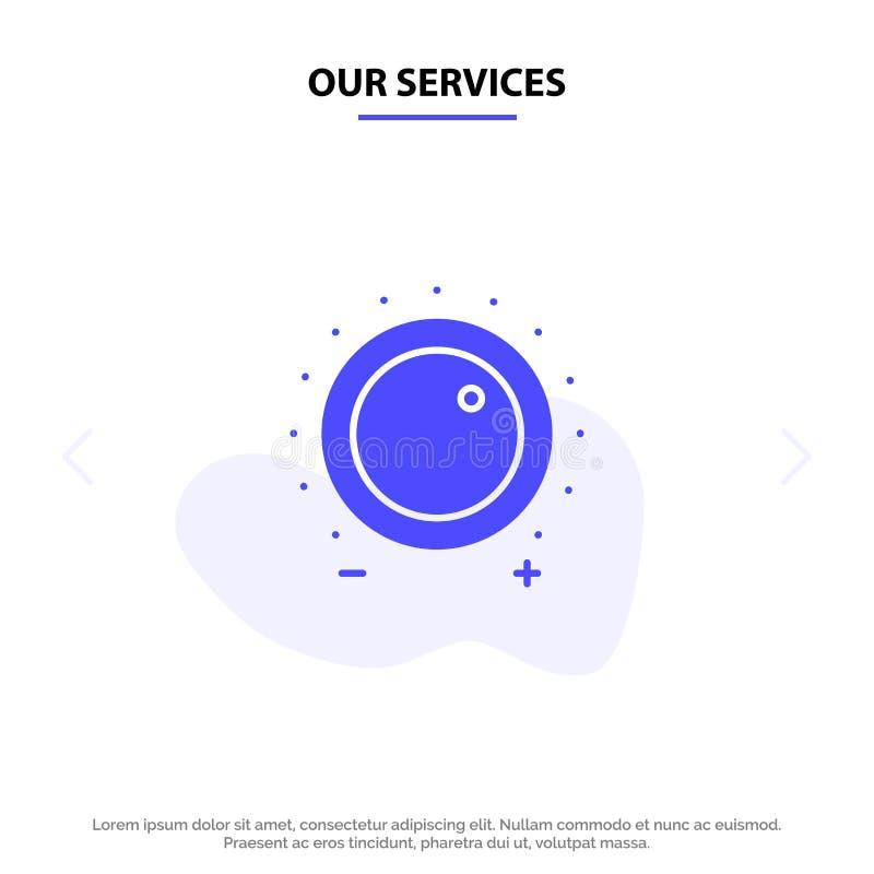 Nuestro audio de los servicios, control, aumento, nivel, plantilla sólida sana de la tarjeta de la web del icono del Glyph libre illustration