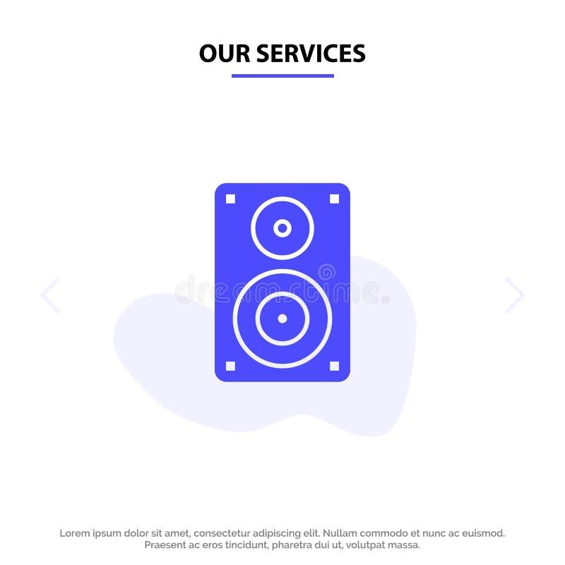Nuestro audio de los servicios, Wifi, altavoz, monitor, plantilla sólida profesional de la tarjeta de la web del icono del Glyph stock de ilustración