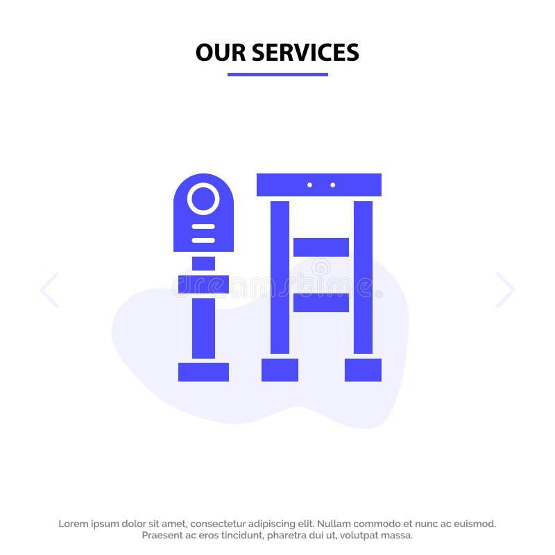 Nuestro banco de los servicios, autobús, estación, plantilla sólida de la tarjeta de la web del icono del Glyph de la parada stock de ilustración