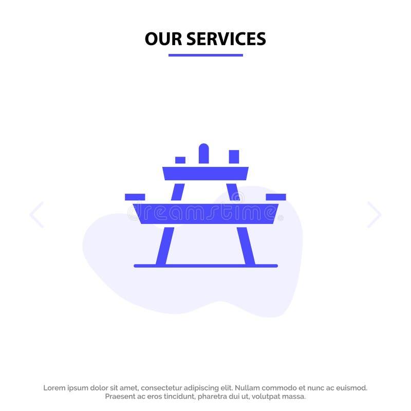 Nuestro banco de los servicios, comida, parque, Seat, plantilla sólida de la tarjeta de la web del icono del Glyph de la comida c stock de ilustración
