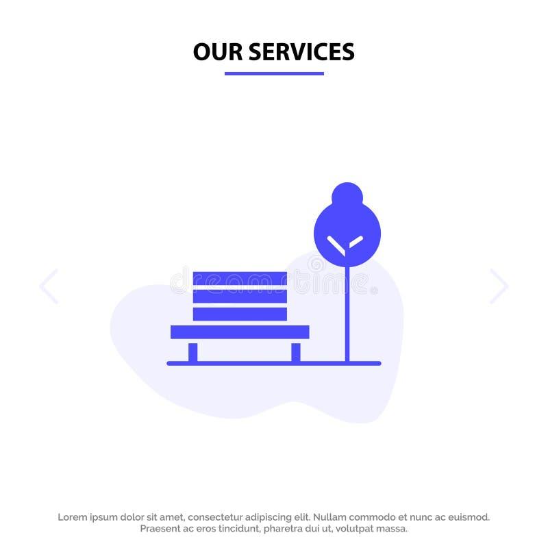 Nuestro banco de los servicios, silla, parque, plantilla sólida de la tarjeta de la web del icono del Glyph del hotel ilustración del vector