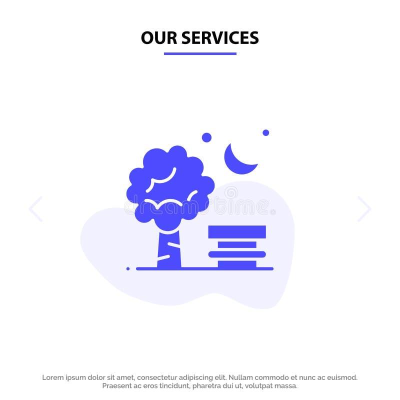 Nuestro banco de los servicios, silla, parque, primavera, plantilla sólida de la tarjeta de la web del icono del Glyph del globo ilustración del vector