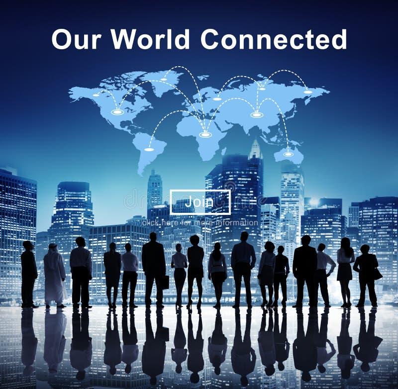 Nuestro concepto social conectado mundo de la interconexión del establecimiento de una red fotografía de archivo