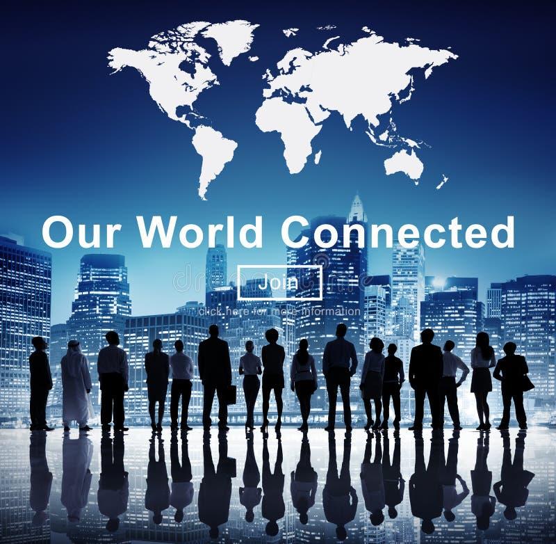 Nuestro concepto social conectado mundo de la interconexión del establecimiento de una red imágenes de archivo libres de regalías