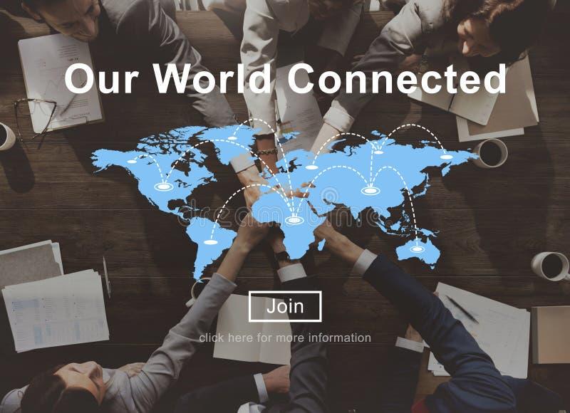 Nuestro concepto social conectado mundo de la interconexión del establecimiento de una red foto de archivo libre de regalías